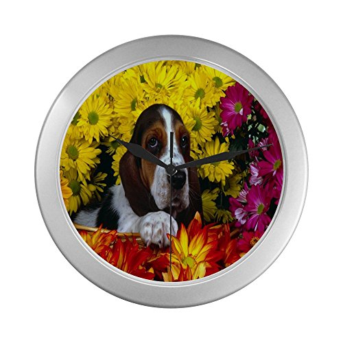 Basset Hound  Silver Elegant  Decorative Wall Clock Decorative