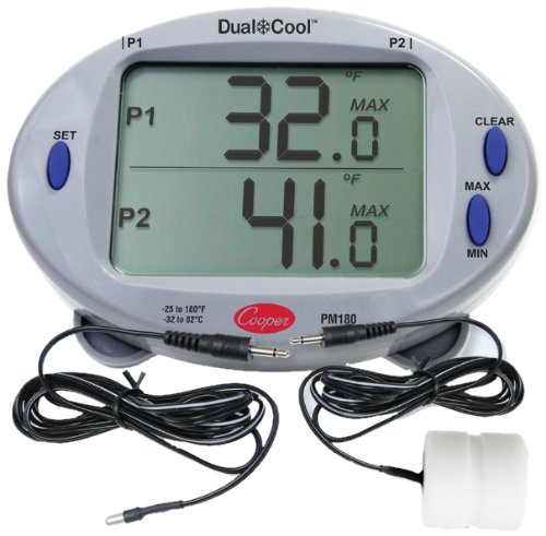 Cooper-Atkins PM180-01 Digital Mini Rectangular Panel Thermometer Kit with 2013 Air and 2113 Solid Simulator Pobes by Cooper