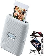 Impressora Instax Mini Link Fujifilm para Smartphone = Ash White + Filme Instax Black com 10 poses