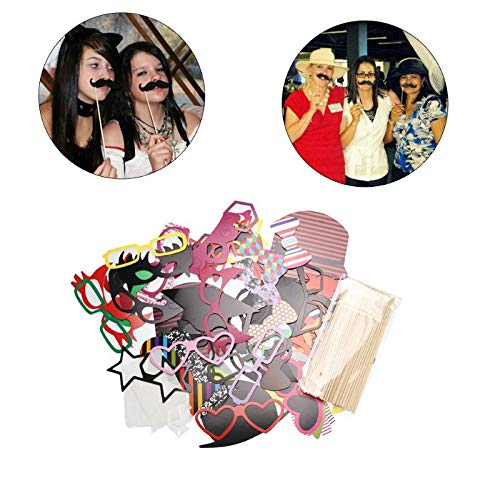 Photobooth Props - 76pcs Set Photo Booth Props Funny Birthday Party Wedding Mask Moustache Stick Photography Event - Roll Sticks Time Style Medical Plastic Beach And Gras Glasses