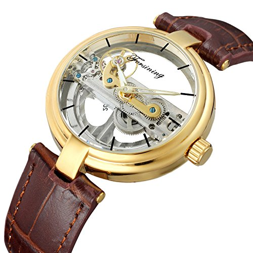 Fashion Casual Sport Luxury Boy Business Men Skeleton Automatic Mechanical Leather Strap Wristwatch
