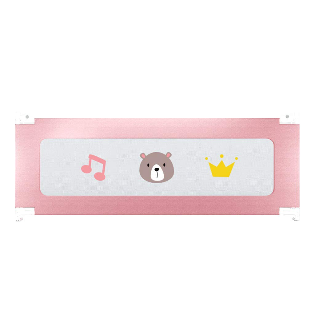 200cm Guard Baby Bed Rail Baby Safety Silent Wheel Vertical Lift Toddlers Safety Single Tall Bed Guard Rail with Anchor Safety System Height 67~90cm in Pink