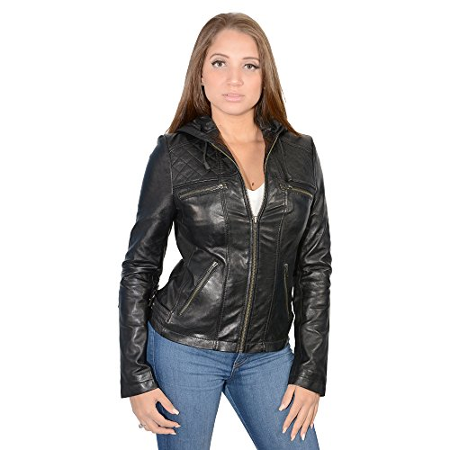 Milwaukee Leather Women's Hooded Scuba Jacket With Draw String (Black, 4X-Large), 1 Pack