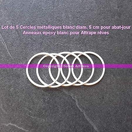 prix bas Style classique modélisation durable Lot de 5 Cercles métalliques Blanc diam. 5 cm pour Abat-Jour, Anneau epoxy  Attrape rêves