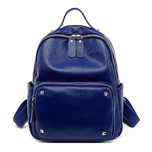 Bag Leather Blue Cm Bag Y 14 Travel Bag Shoulder amp;F 27 31 Student Rivet Backpack Casual tBnqR