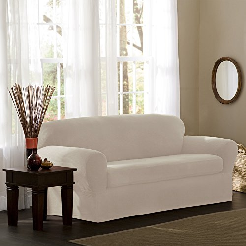 Maytex Stretch Reeves Stretch 2-Piece Sofa Slipcover, Natura