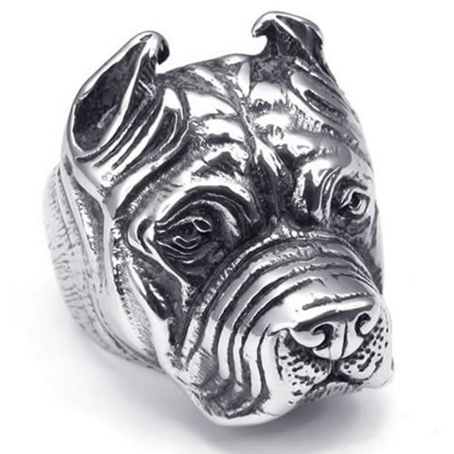KONOV Vintage Stainless Steel Biker Mens Dog Ring, Bulldog, Shar Pei - Size 12