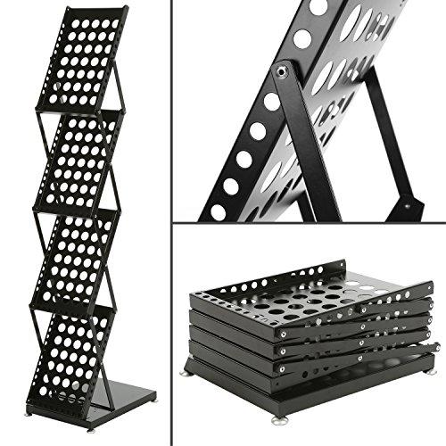 Modern Folding 4 Tier Metal Magazine Rack, Freestanding Literature Display Stand, Black by MyGift (Image #1)