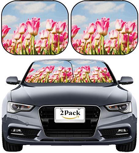 MSD Car Sun Shade Windshield Sunshade Universal Fit 2 Pack, Block Sun Glare, UV and Heat, Protect Car Interior, Image ID: 21783132 Tulip Field