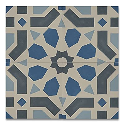 Moroccan Mosaic & Tile House CTP49-02 Azilal 8''x8'' Handmade Cement Multicolor (Pack of 12), BlueGrayWhiteSky Blue