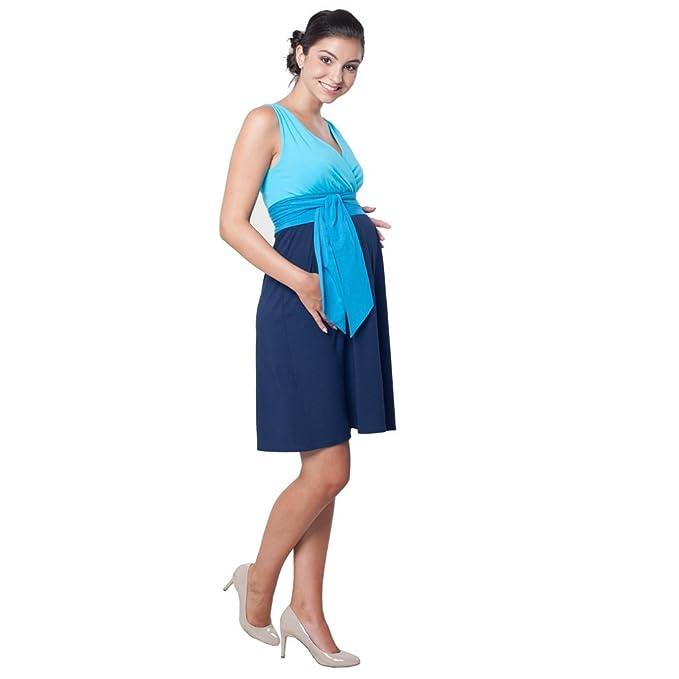 Madeline Azul – Maternidad vestido de punto sin mangas (42)