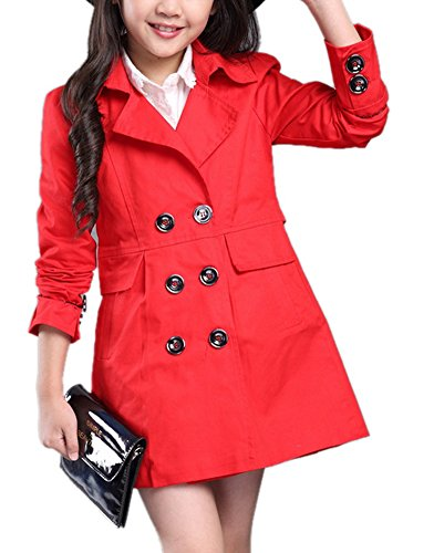 Girl's Fall Cute Double Breasted Windbreaker Double-Breasted Trench Coat Lightweight Dress-Coat 150 Red