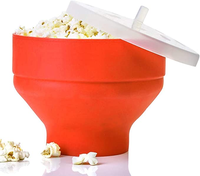 Popcorn Maker Microwave, Collapsible Silicone Microwave Hot Air Popcorn Popper Bowl with Lid and Handles Silicone Popcorn Maker (Red): AmazonSmile: Kitchen & Home
