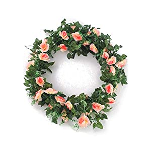 Charmly 2 Pack 14.4 FT Artificial Rose Vine Fake Rhododendron Silk Flowers Garlands Hanging Ivy Plants Home Hotel Office Wedding Party Garden Décor Champagne 2