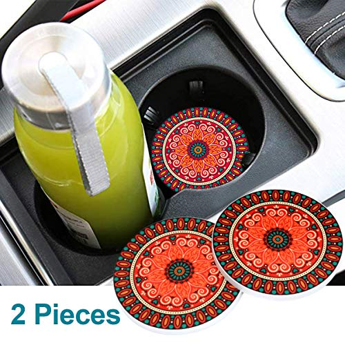 monochef Auto Sport 2.75 Inch Diameter Oval Tough Car Logo Vehicle Travel Auto Cup Holder Insert Coaster Can 2 Pcs Pack (Bohemia red)