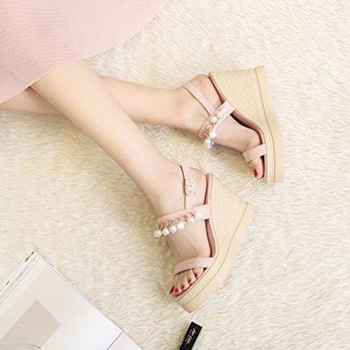 Koreanische 36 Perle Keil Sommer Jingsen Farbe größe Sandalen mit Damenschuhe Schuhe Besohlten Pink Plattform Hochhackigen Version der Dick dTRxAq
