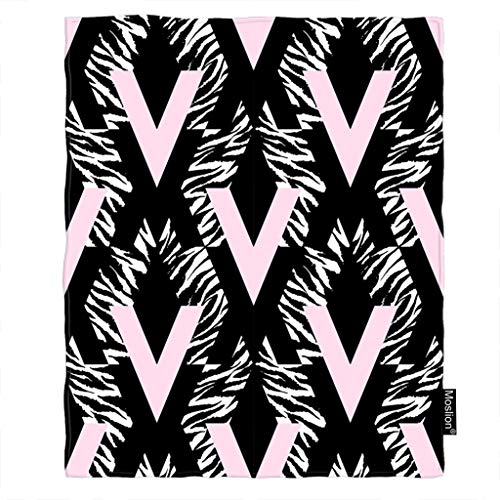 Moslion Zebra Blanket Geometric Zebra Stripes Ink Brush Stroke Doodle Diamond Throw Blanket Flannel Home Decorative Soft Cozy Blankets 40x50 Inch for Baby Kids Pet Black White Pink