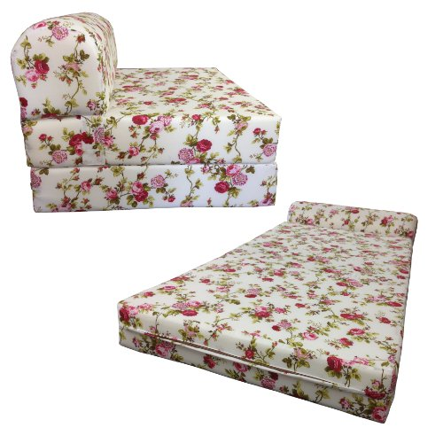 Red Rose Twin Size Chair Folding Foam bed 1.8LBs Density Couch Sofa Beds 6x32x70 (Twin Size Futon Chair)