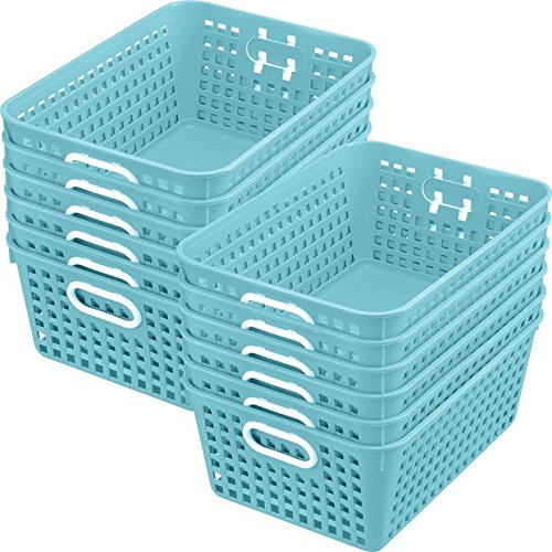 Really Good Stuff Multi-Purpose Plastic Storage Baskets for Classroom or Home Use - Stackable Mesh Plastic Baskets with Grip Handles 13