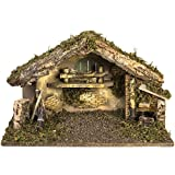 Holyart Nativity Scene stable with fountain and fireplace 30x50x24 cm