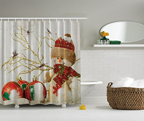 Ambesonne Winter Holiday Snowman Polyster 69-Inch-by-70-Inch Shower Curtain