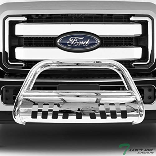 Topline Autopart Polished Stainless Steel Bull Bar Brush Push Front Bumper Grill Grille Guard With Skid Plate For 11-16 Ford F250 / F350 / F450 / F550 Superduty