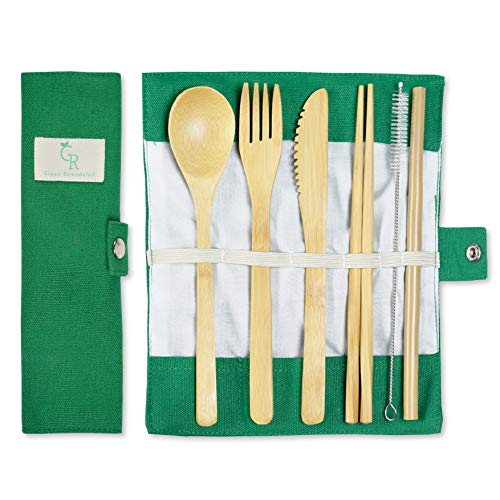 Bamboo Cutlery Set Portable Straw Reusable Cutlery Travel Set Reusable Utensils Bamboo Silverware Wooden | Fork Knife Spoon Chopsticks Straw Straw Cleaner | Sustainable Travel Pouch ()