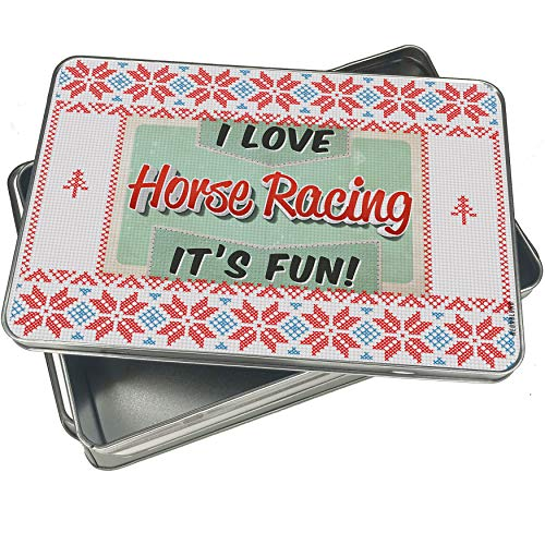 NEONBLOND Cookie Tin Box I Love Horse Racing, Vintage design Vintage Christmas Pattern -