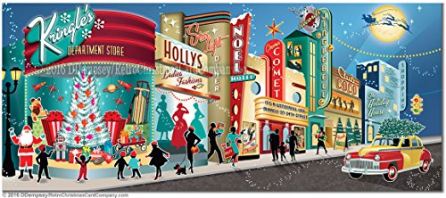 Downtown Street Postcard - Vintage Main Street Christmas Cards, Package of 8