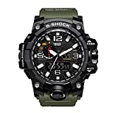 SMAEL Men's Analog Digtal Sport Watch Dual Quartz Movement Military Time Water Resistant with LED Backlight