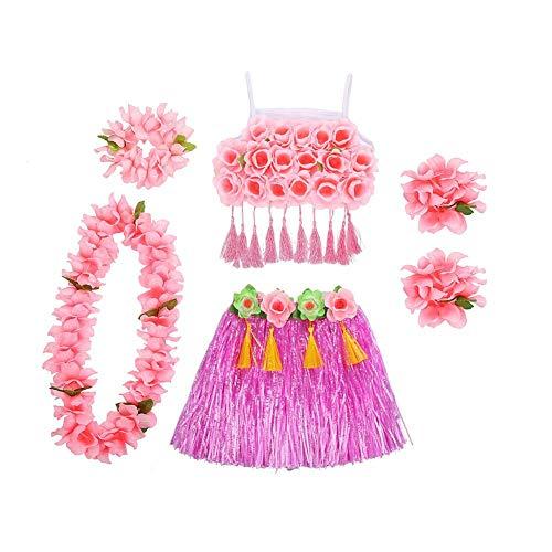 Hawaiian Dress Code For Parties (Kids Hula Grass Skirt,6 PCs/Set Children's Hawaiian Hula Costumes Hawaiian Hula Luau Party Hawaii Dress Set for Kindergarten Children's Day Games Cheerleading Stage)