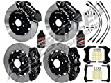 """WILWOOD BMW 3-SERIES FRONT & REAR BIG BRAKE COMBO WITH FREE BRAKE LINES & BRAKE FLUID - 14"""" AERO6 FRONT & AERO4 REAR, BLACK CALIPERS, SLOTTED ROTORS, 2007-2013 BMW 3-SERIES"""