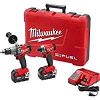 Milwaukee M18 FUEL 18-Volt Lithium-Ion Cordless Brushless Hammer Drill and Impact Driver Kit with 2 5Ah Batteries and Case