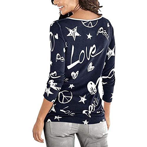 Mujer Invierno Patrón Cuello Redondo Largo Impresión Estilo Larga Camisas  Camisa Sudadera Niña Corazón Fiesta Basa ... 8c25c20bc4c