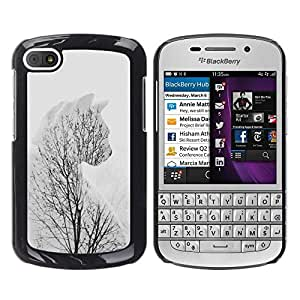 Design for Girls Plastic Cover Case FOR BlackBerry Q10 Winter Cat Branches Tree Grey Clean Minimalist OBBA