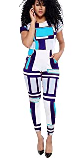 Aro Lora Womens Short Sleeve Geometric Street Long Pants Jumpsuits Rompers