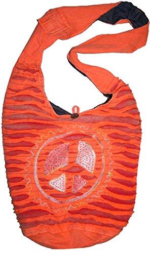 SJ 02 Circular Peace Shoulder Bag Bohemian Gypsy Bag (Orange) by Agan Trades