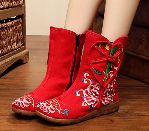 Avacostume Femmes Vieux Beijing Broderie Bottes Pêche Coeur Conception Appartements Chaussures Rouge