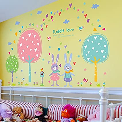 Amazon.com: MiniWall Wall Paintings Sticker Lovely Rabbit Trees ...