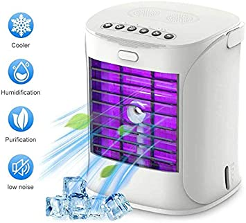 4 en 1 Ventilador Aire Acondicionado Air Cooler Fan con Mango Aire Acondicionado Port/átil Humidificador y Purificador 3 Velocidades para Hogar Oficina Acampada