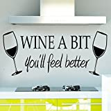 Soooku Morden Vinyl *WINE A BIT you'll feel better *Quote Letter Wall Sticker Decal Home Arts Dinning Kitchen Lounge Decor Wall Decoration Picture