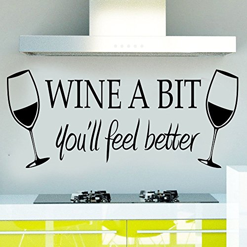 Blinggo WINE A BIT you'll feel better Quote Letter Wall Sticker Decal Home Arts Dinning Kitchen Lounge Decor Wall Decoration