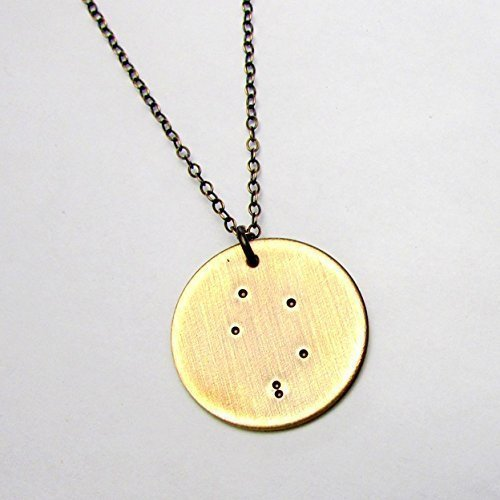 - Zodiac Libra Constellation Necklace Oxidized Rustic Brushed Bronze Hand Stamped Star Charm & Chain