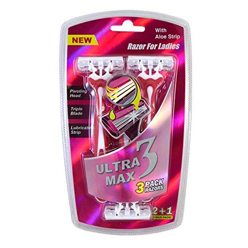 Ultra Max Razor 3 Pack Pink Ladies , Case of 48