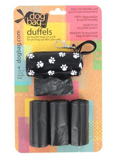 Dog Bag Duffel 4-Roll Pet Dispenser Bag, Black with White Paws, My Pet Supplies