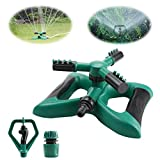 crayfomo Lawn Sprinkler, Automatic 360° Rotating Garden Sprinkler for Large Area of Coverage, Water Sprinklers with Leak Free Design Durable 3 Arm Sprayer Adjustable Nozzle