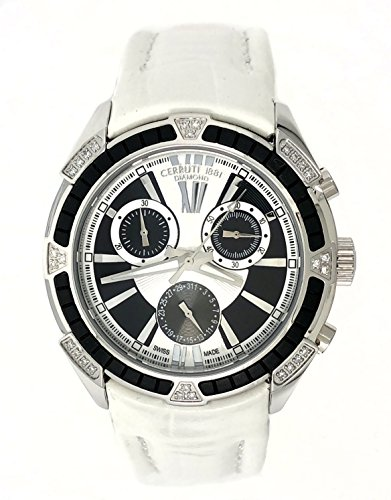 Cerruti 1881 Ladies Chronograph Watch White Black Tone with Leather Strap Diamond CCRWDM026A216Q