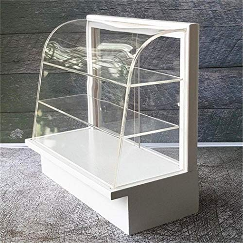 (EatingBiting(R) 1:12 Dollhouse Miniature Shop Store Room White Design Acrylic Display Bakery Cake Cabinet Shelving Handcraft Dollhouse Miniature Stand Craft time for Selection Food Miniature)