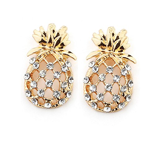 Women Fashion Pineapple with Crystal Rhinestone Gold Ear Stud Charm Earrings Jewelry