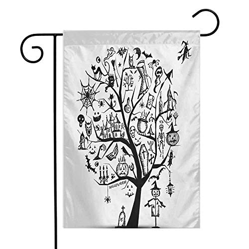 Mannwarehouse Halloween Garden Flag Sketchy Spooky Tree with Spooky Design Objects and Wicked Witch Broom Abstract Decorative Flags for Garden Yard Lawn W12 x L18 Black White]()